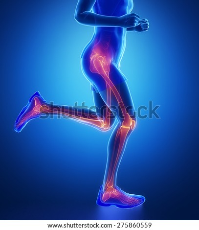 Knee, hip, ankle - running man leg scan in blue - stock photo