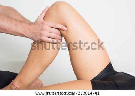 knee massage - stock photo