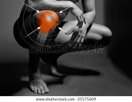 knee pain target - stock photo