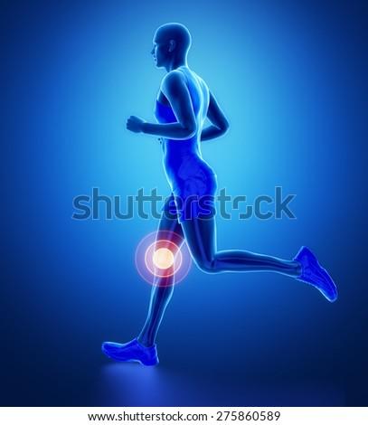 KNEE - running man leg scan in blue - stock photo