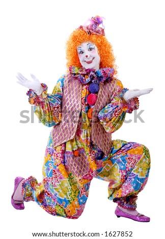 Kneeling Clown - stock photo