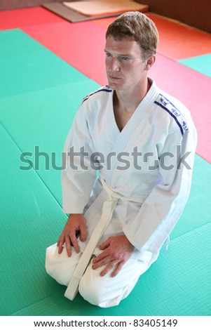 Kneeling man on judo mat - stock photo