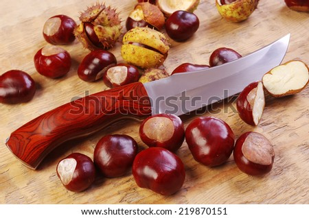 Knife and chestnuts on rustic kitchen table