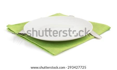 knife and fork at plate on white background - stock photo