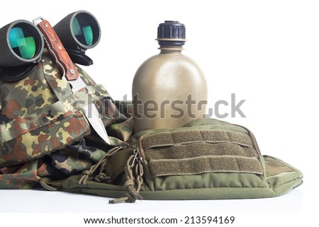 Knife and military equipment - stock photo