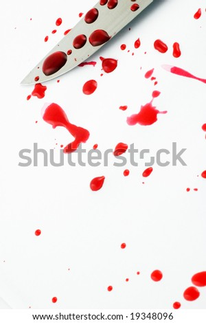 Knife blade with blood drops on white background - stock photo