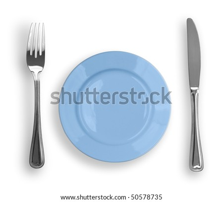 Knife, blue plate and fork isolated - stock photo