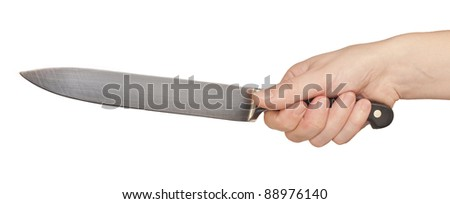 Knife in a hand with isolated over white