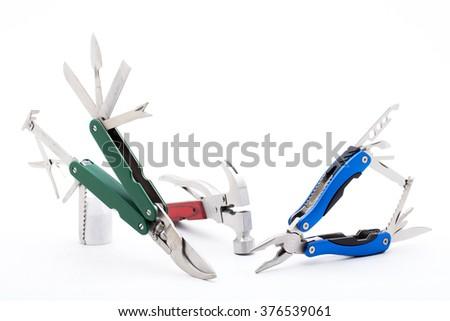 Knife multi-tool, isolated on white background  - stock photo