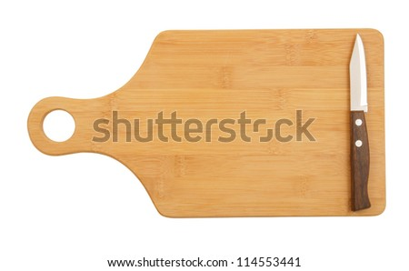 Knife on cutting board isolated on white - stock photo