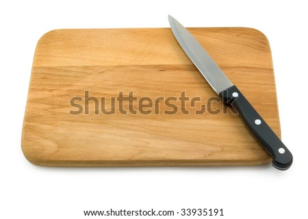 Knife on Cutting Board. White background - stock photo