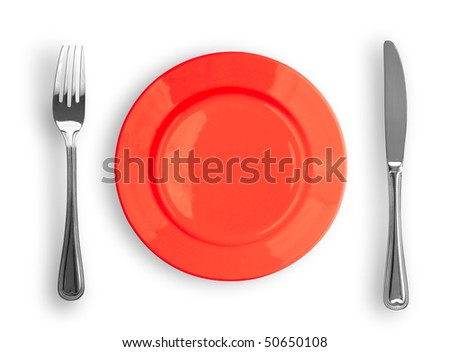 Knife, red plate and fork isolated - stock photo