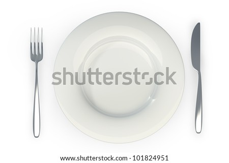 Knife, white plate and fork isolated on white background High resolution 3d
