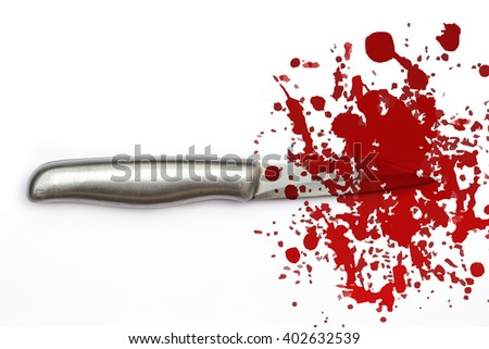 knife with grungy blood mark, crime murder and violation concept. - stock photo