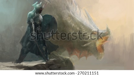 knight and dragon on cliff  - stock photo