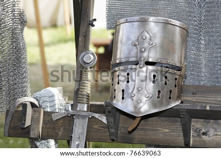 Knight armor on a castle - stock photo
