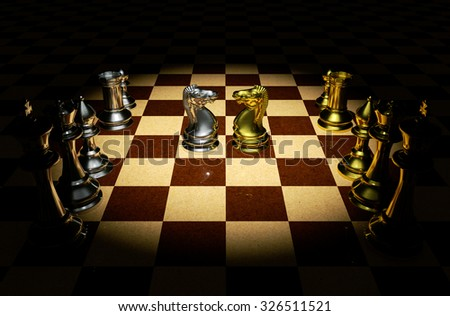 Knight battle chess on a board 3d rendering. - stock photo