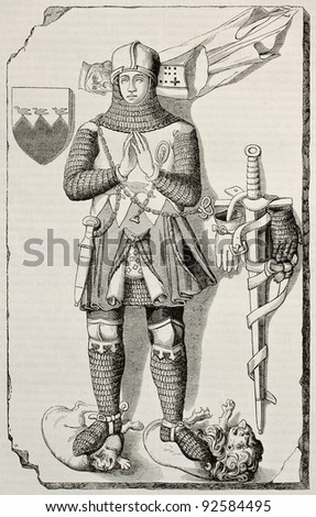 Knight Berthold de Waldner tombstone old illustration. After 14th century sculpture, published on Magasin Pittoresque, Paris, 1845