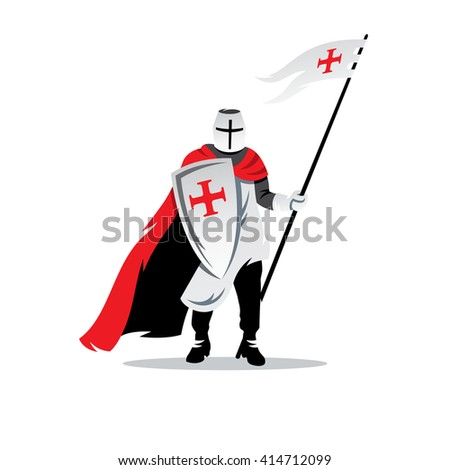 Knight Cartoon Illustration. Crusader helmet with spear and shield. Branding Identity Corporate unusual Logo isolated on a white background - stock photo