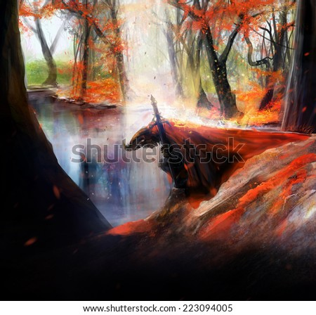 Knight. Fantasy warrior knight in red hood kneel on a autumn lake background illustration. - stock photo