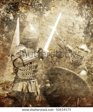 Knight fight. Photo in old image style. - stock photo