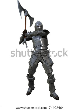 Knight in full armour and chain mail with axe isolated on white - stock photo