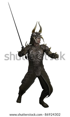 Knight in horned dragon armour carrying a sword, 3d digitally rendered illustration - stock photo