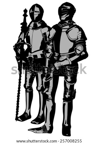 Knight in period costume on a white background - stock photo