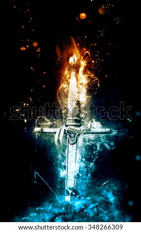 knight knife in fire - stock photo