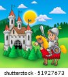 Knight on horse with old castle - color illustration. - stock vector