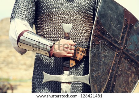 Knight. Photo in vintage style - stock photo