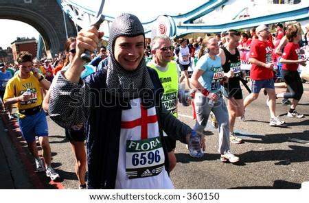 Knight running marathon - stock photo