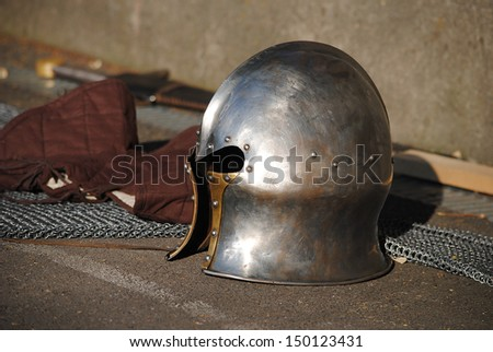 Knight's helmet - stock photo