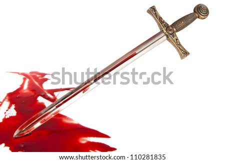 Knight's sword in the blood on white background - stock photo