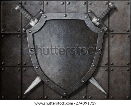 knight shield and two swords over armor plates  - stock photo