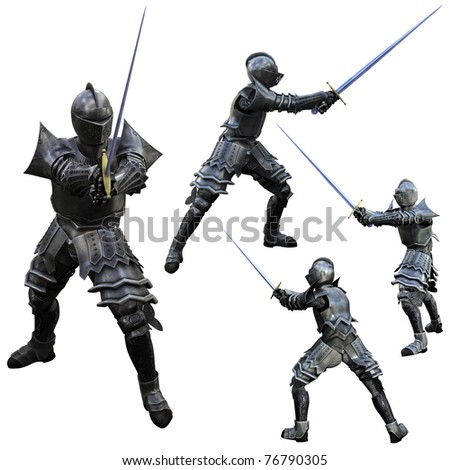 Knight Swordsman in Full Armour, 3D render in multiple views - stock photo