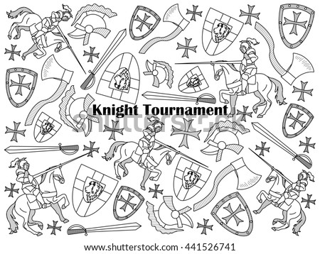 Knight Tournament design colorless set raster illustration. Coloring book. Black and white line art