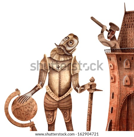 Knight with a Globe - stock photo
