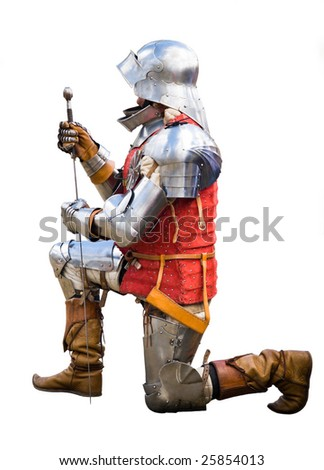 Knight with a sword on a bended knee. Solid white background. - stock photo