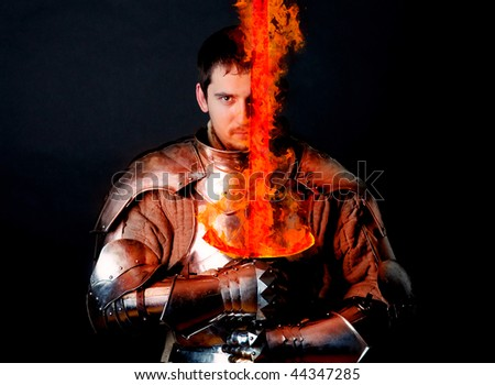 Knight with burning sword