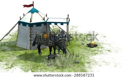 Knight with horse and tent isolated on white background - stock photo