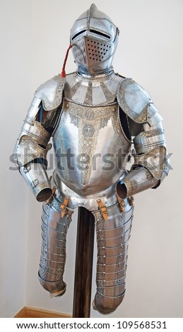 Knights armour in the medieval castle - stock photo