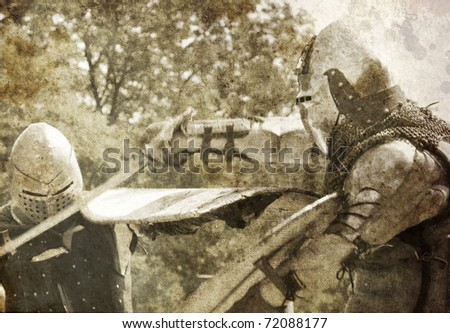 Knights fight. Photo in old image style. - stock photo