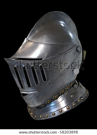 Knights helmet isolated on black - stock photo