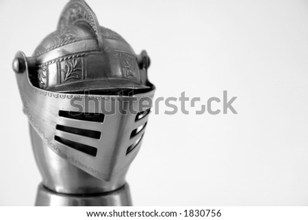 Knights Helmet with copy-space - stock photo