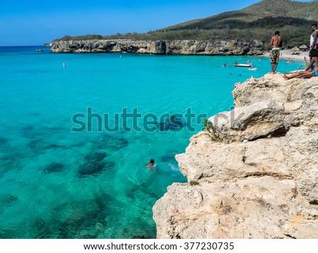 Knip Beach - On the Caribbean Island of Curacao in the Dutch Antilles - stock photo