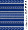 Knit texture. Fabric blue background with white ornament. Seamless pattern illustration raster version, vector file included in portfolio - stock photo