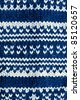 Knit woolen texture. Fabric blue and white background - stock photo