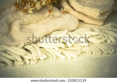 knited wool socks and flowers - stock photo