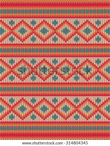 Knitted background pattern with wool sweater texture. Retro textile winter fabric fashion design ornament. Retro decoration illustration. Beige, red, green, blue colors. - stock photo